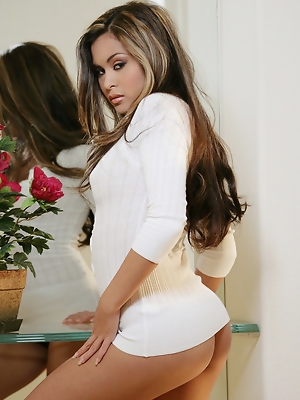 Long sleeve white top with black pantys pics ~ SexyNakedModels.com