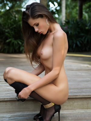 Aleksa Slusarchi outdoors enjoying the weather and taking off her black lingerie. pics ~ SexyNakedModels.com