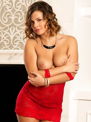 Keisha Grey takes off her sexy red dress to show her amazing breasts. pics ~ SexyNakedModels.com