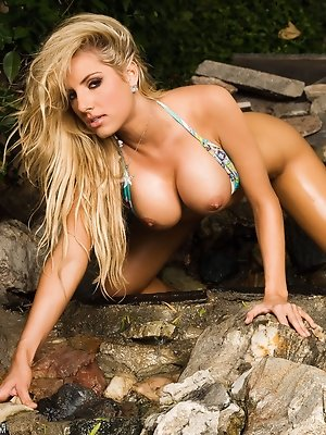 Teagan Presley is a true daredevil at heart - shooting her latest bikini/nude photo shoot right at the edge of a steep tropical rock cliff precipice! pics ~ SexyNakedModels.com